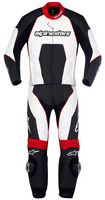 Carver_lth_suit_2pc_blk_wht_red_fr